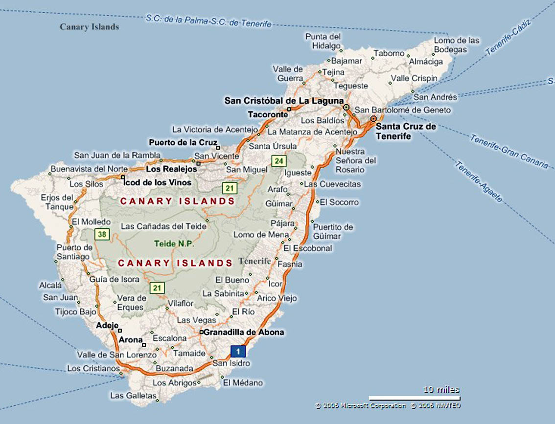 Cartina Geografica Canarie.Tenerife